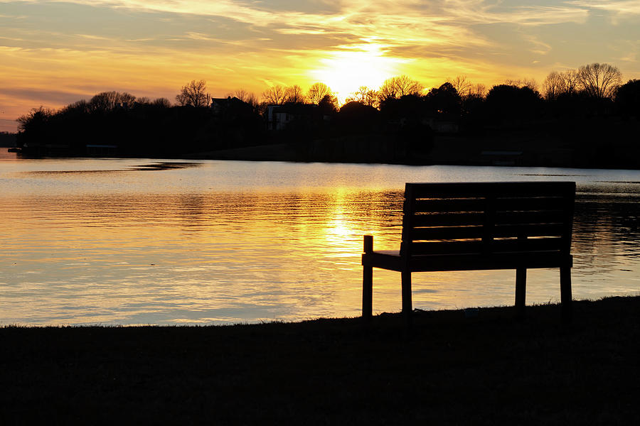 Bench Photograph - Bench Sunset by Michael Poe