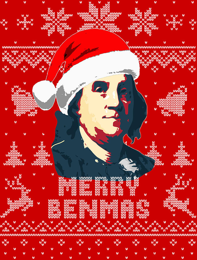 Santa Digital Art - Benjamin Franklin Merry Benmas  by Filip Schpindel
