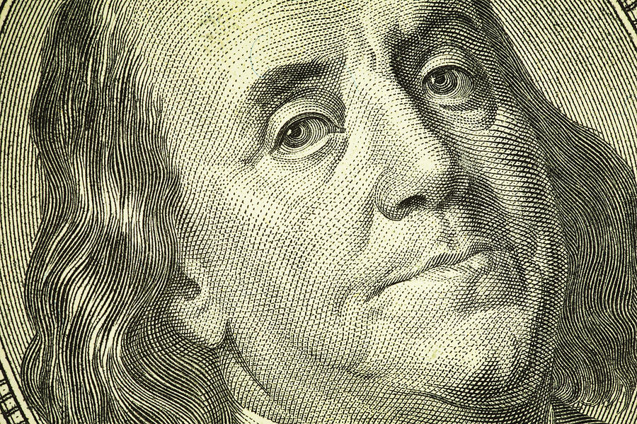 Benjamin Franklin Portrait on One Hundred Dollar Bill | Finance Photograph by Nicoolay