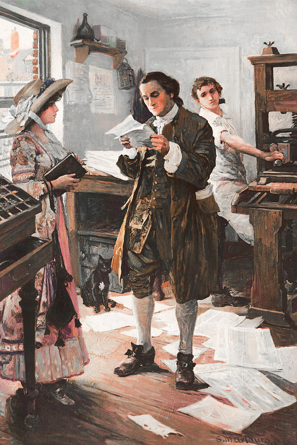 Benjamin Franklin Painting - Benjamin Franklin - The Printer - Philadelphia by War Is Hell Store