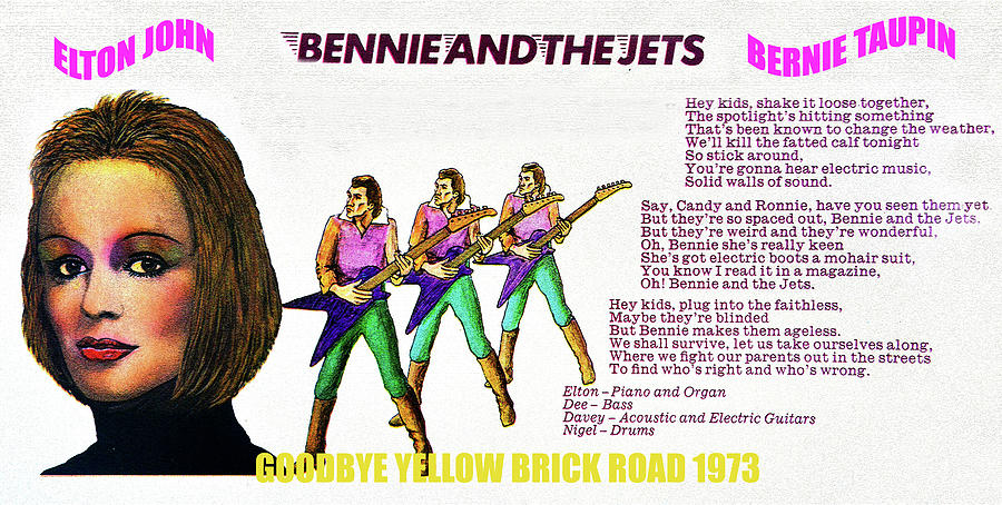 Rock And Roll Mixed Media - Bennie and the Jets 1973 by David Lee Thompson