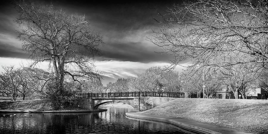 Benton Park Lake and Bridge St Louis BnW GRK8172_12102019-1x2 by Greg Kluempers