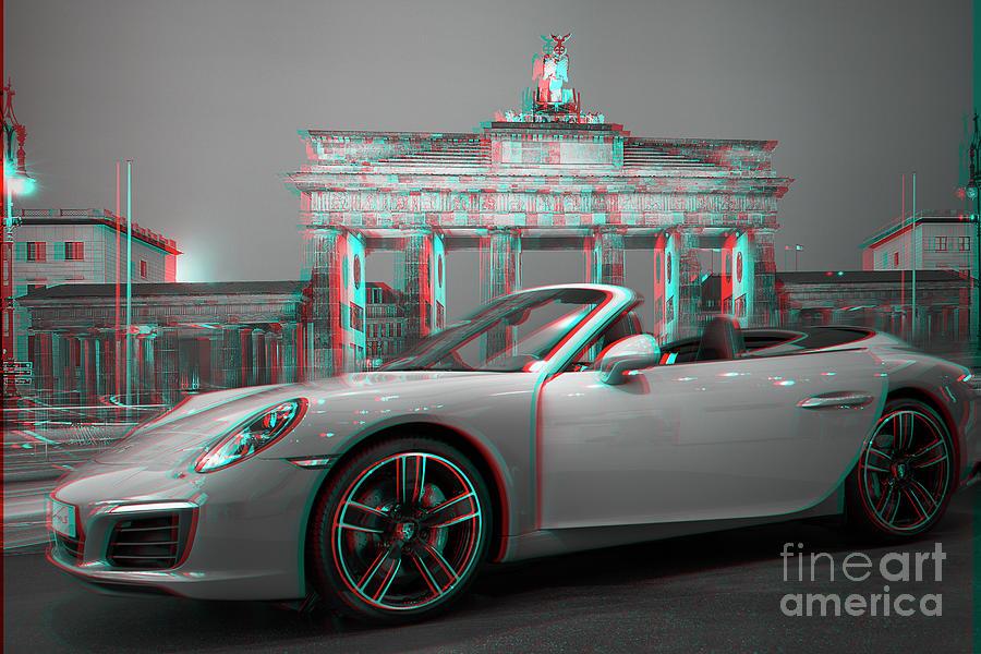 Porsche Car Photograph - Berlin Bw - Porsche Car Anaglyph 3d by Stefano Senise