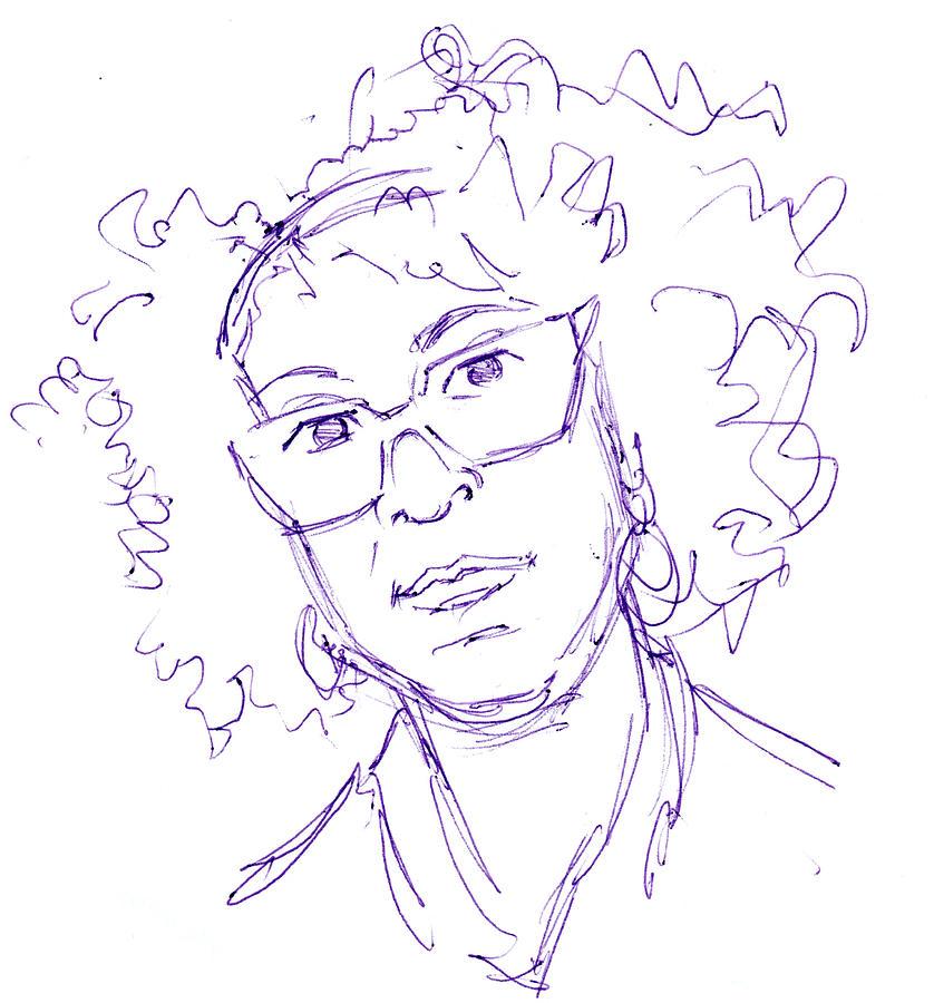 Bernardine Evaristo Portrait Ball Point Pen Sketch Drawing