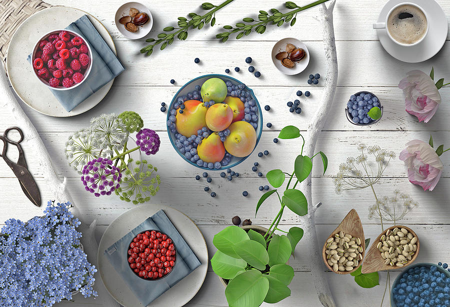 Berries Fruit And Flowers On White Wood by Johanna Hurmerinta