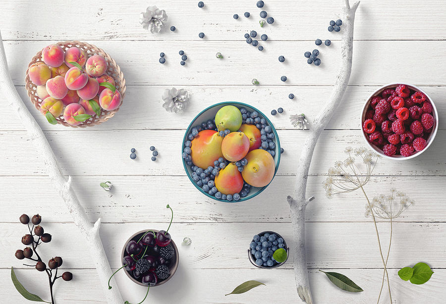 Berries Fruit Flowers Leaves Branches On White Wood by Johanna Hurmerinta
