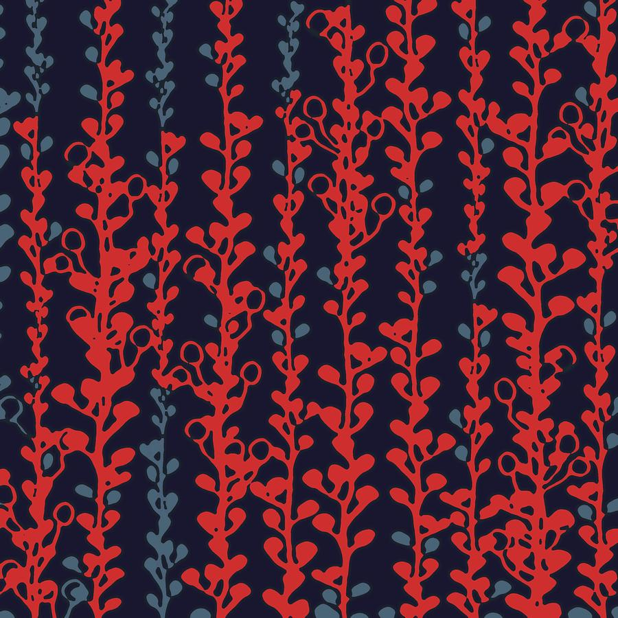 Berry Vines Red And Navy Digital Art