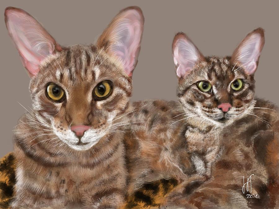 Cat Digital Art - Best Friends Savannah Cats  by Lois Ivancin Tavaf