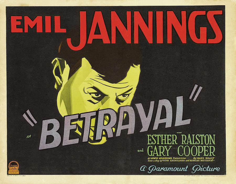 betrayal, With Emil Jannings And Esther Ralston, 1929 Mixed Media