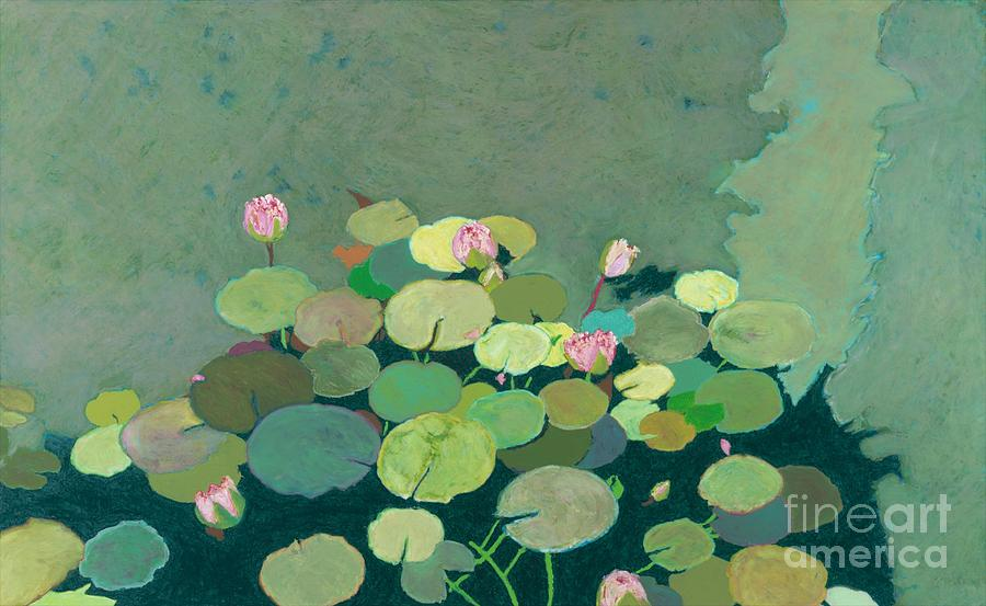 Landscape Painting - Bettys Serenity Pond by Allan P Friedlander