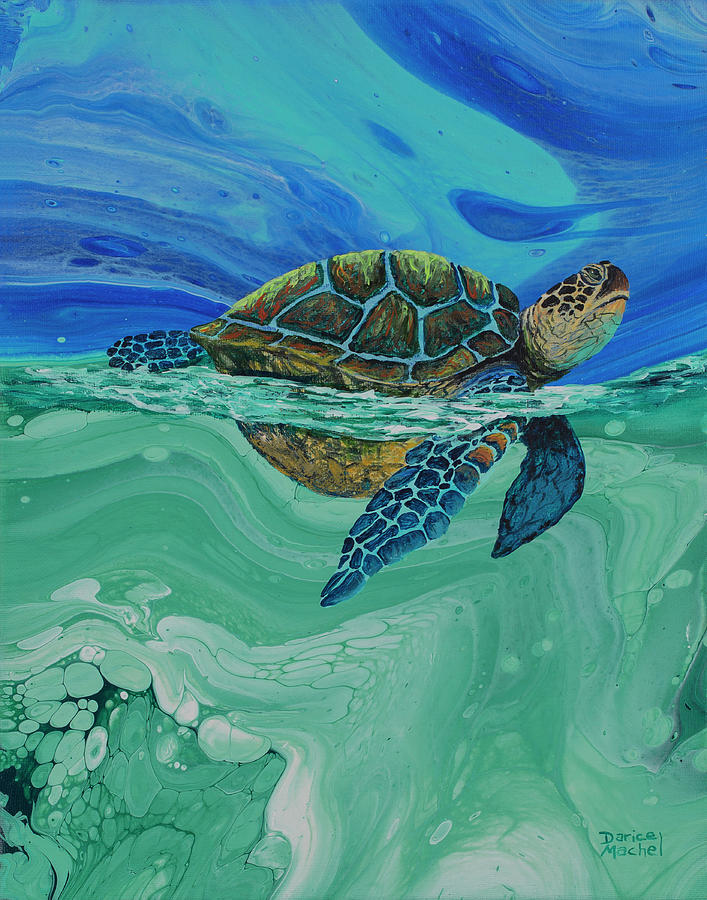 Honu Painting - Between Heaven and the Sea by Darice Machel McGuire