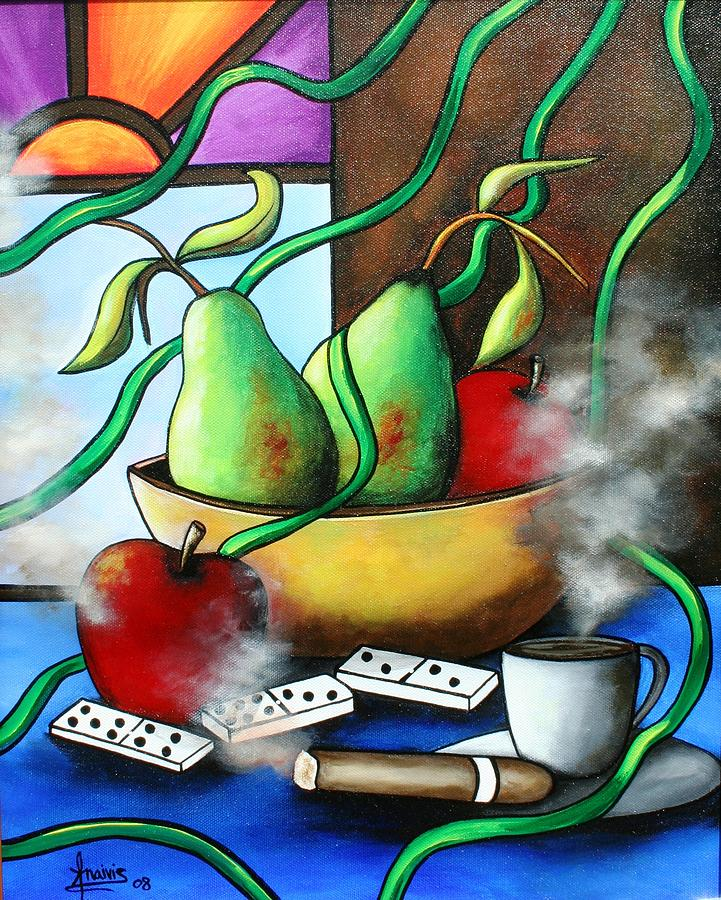 Pears Painting - Between Pears And Apples by Annie Maxwell