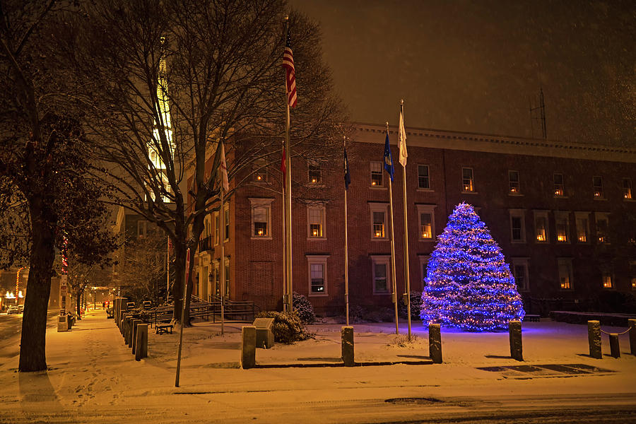 Beverly MA Christmas Tree Downtown Beverly Cabot Street Winter Snowstorm Church by Toby McGuire