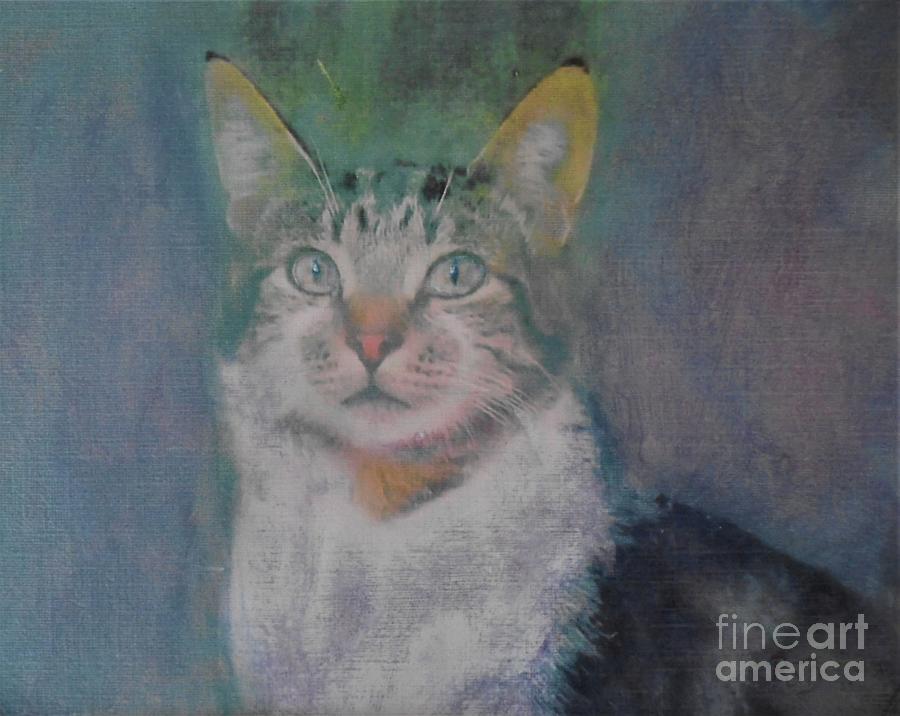 Bewildered  Cat In Lockdown Painting