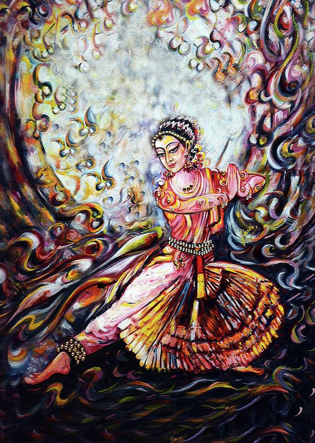 Bharatnatyam Painting - devotion - Bharatnatyam dance  by Harsh Malik