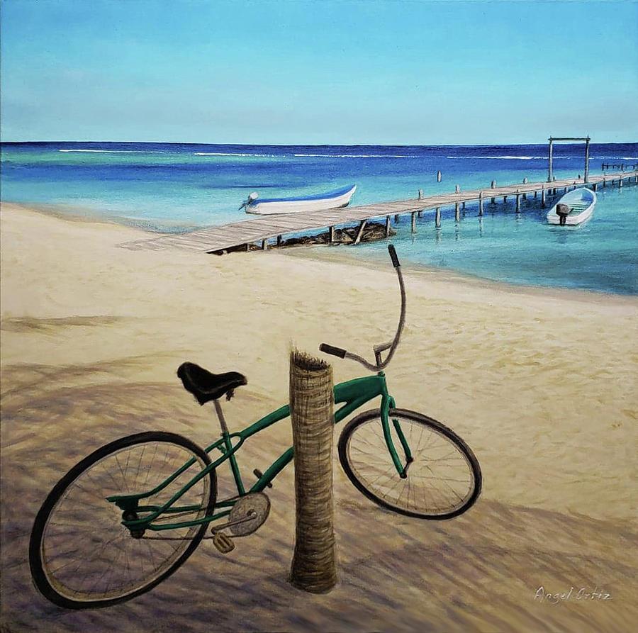 Seascape Painting - Bicicleta Playera by Angel Ortiz