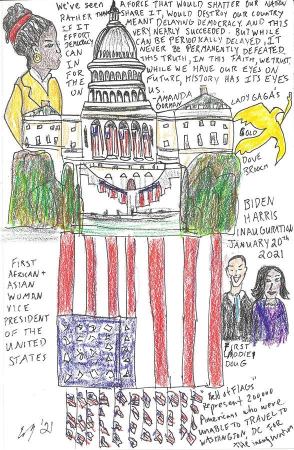 America Drawing - Biden/Harris Inauguration 2021 by Erica Millner