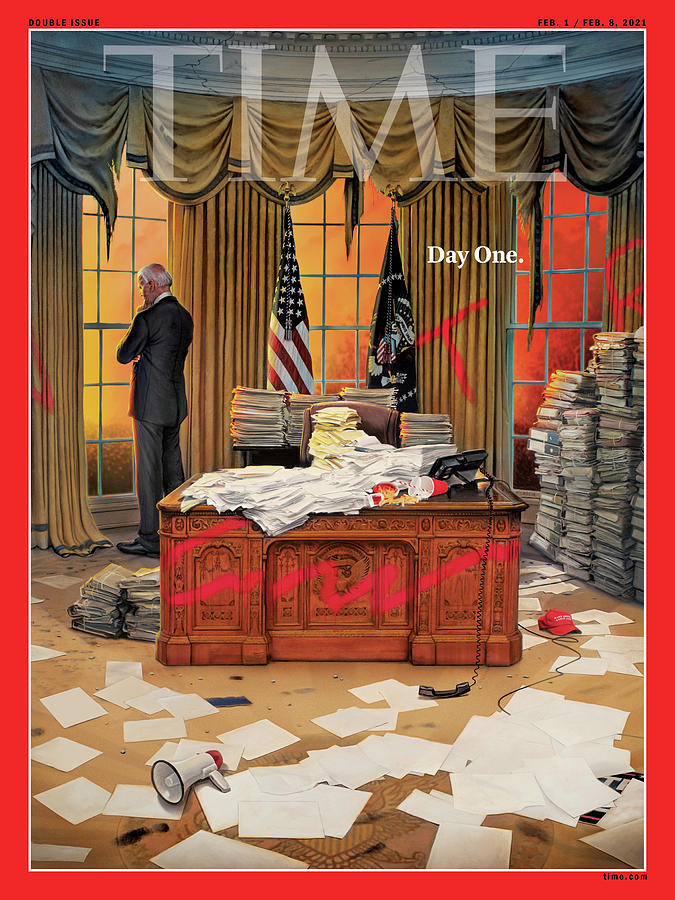 Jr. Photograph - Biden Presidency - Day One by Illustration by Tim OBrien for TIME