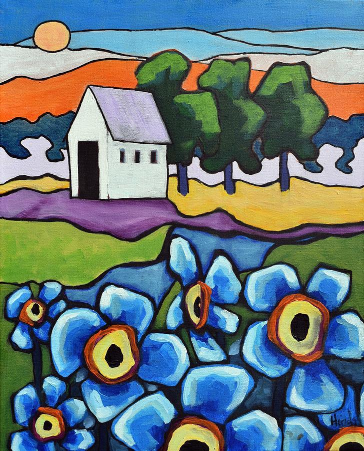 Big Blue Flowers Painting