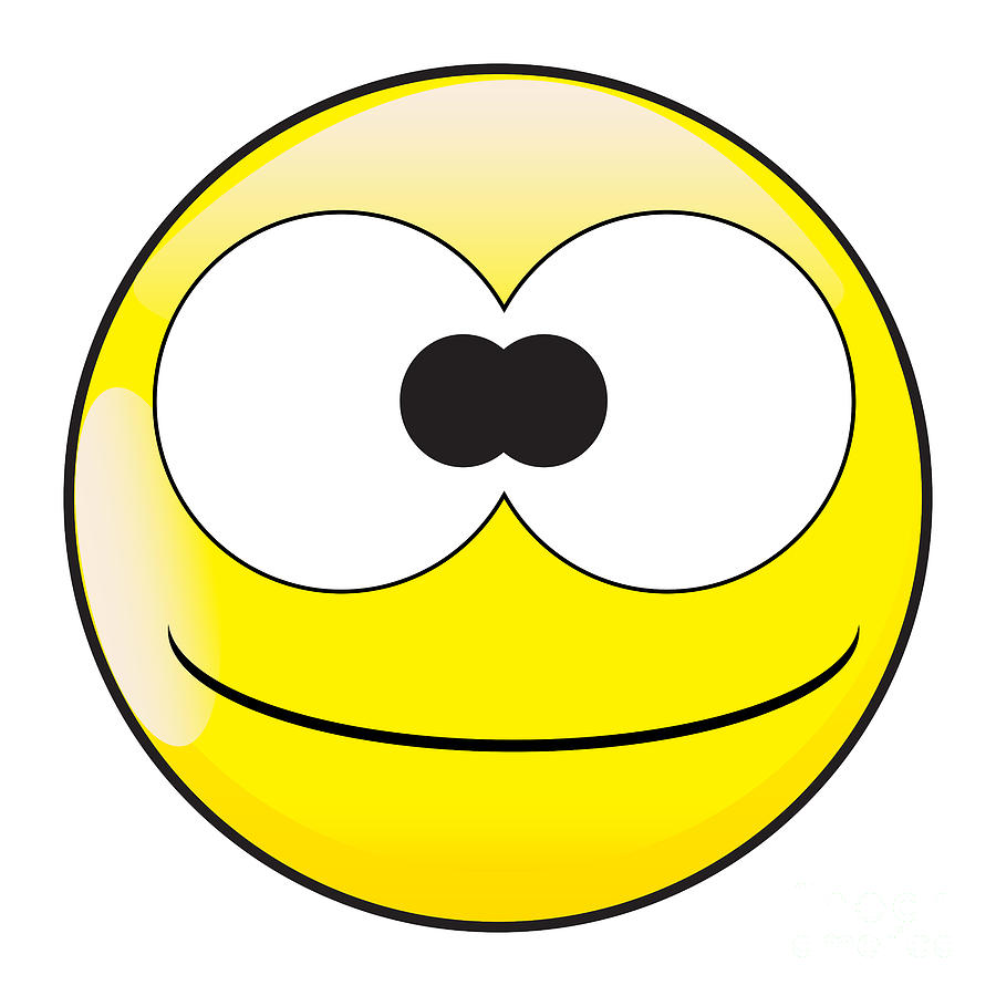 Big Eyes Stupid And Silly Smile Face Button Emoticon by Bigalbaloo Stock