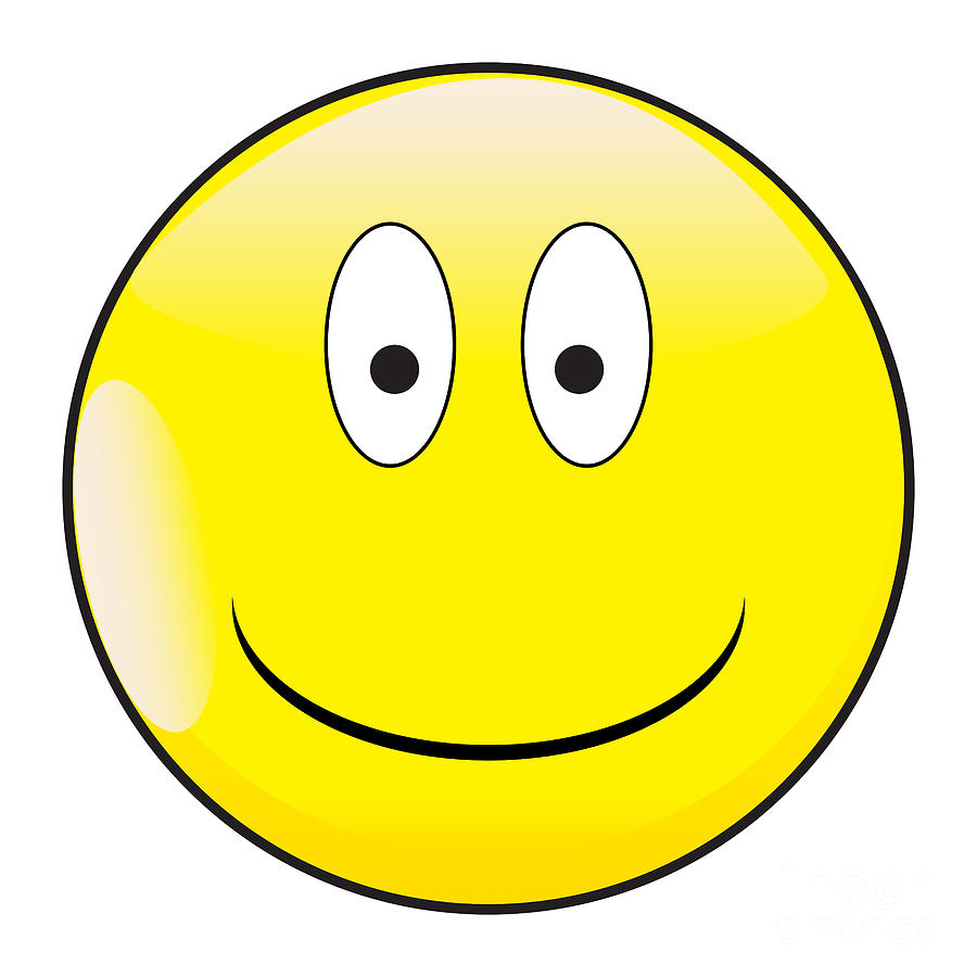 Big Happy Eyes Smile Face Button Emoticon by Bigalbaloo Stock