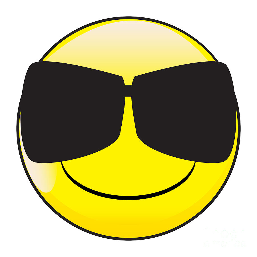 Big Happy Eyes Smile Face Button Emoticon With Dark Glasses by Bigalbaloo Stock