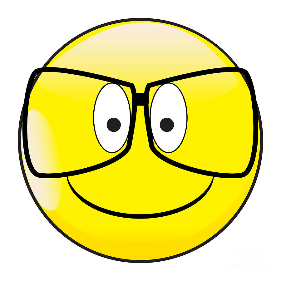 Big Happy Eyes Smile Face Button Emoticon With Glasses by Bigalbaloo Stock