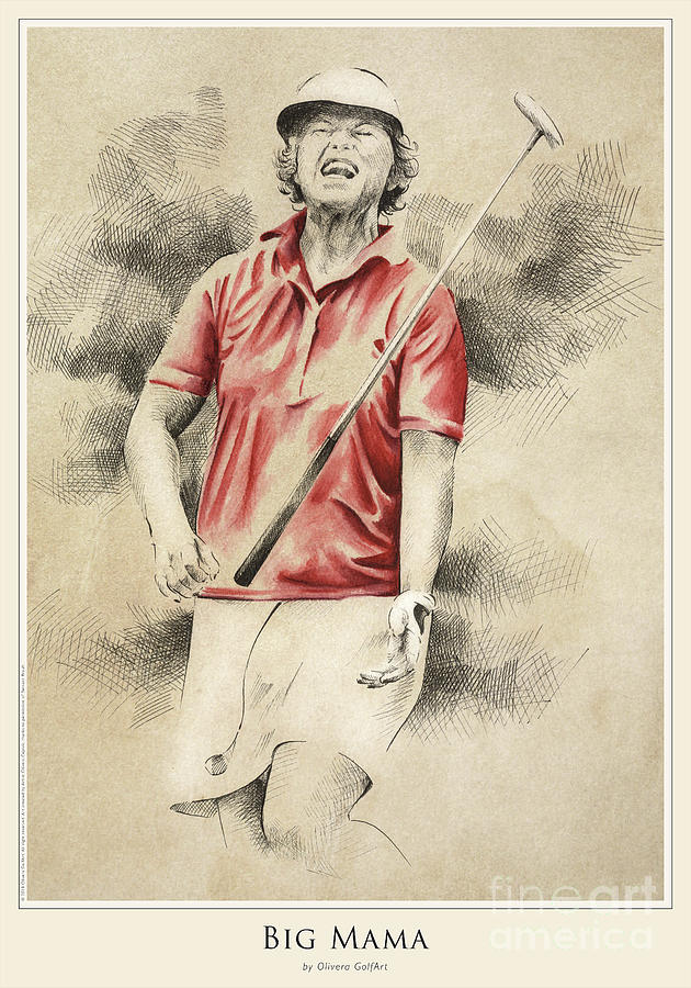 Golfer Painting - Big Mama - Poster by Olivera Cejovic