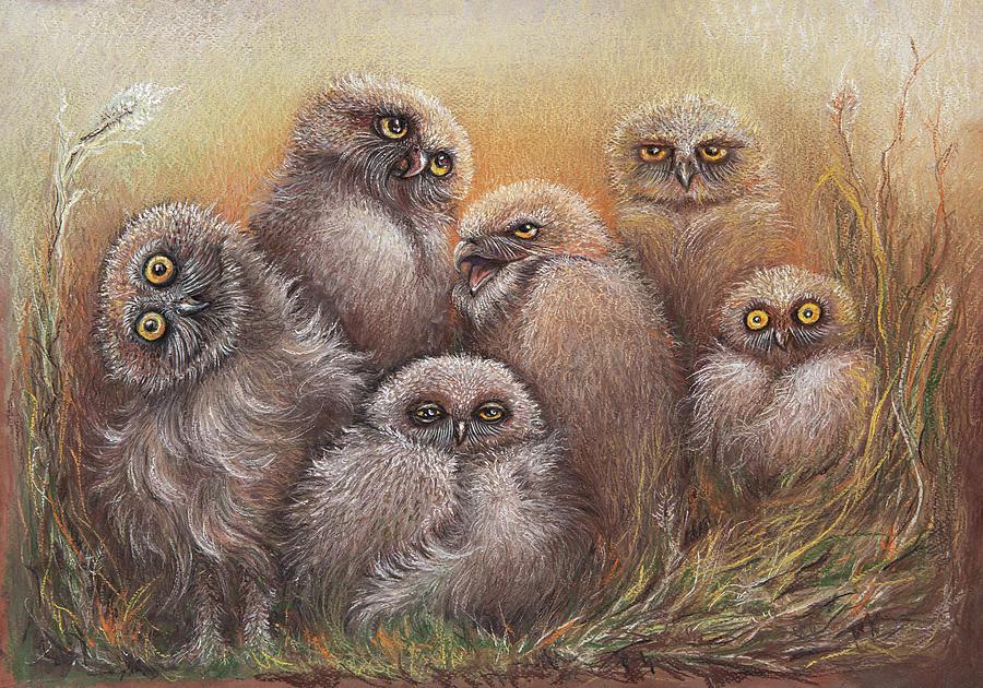 Pastel Pastel - Big Burrowing Owl Family by Varvara Medvedeva