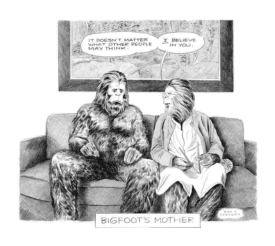 Bigfoots Mother Drawing by Karl Stevens