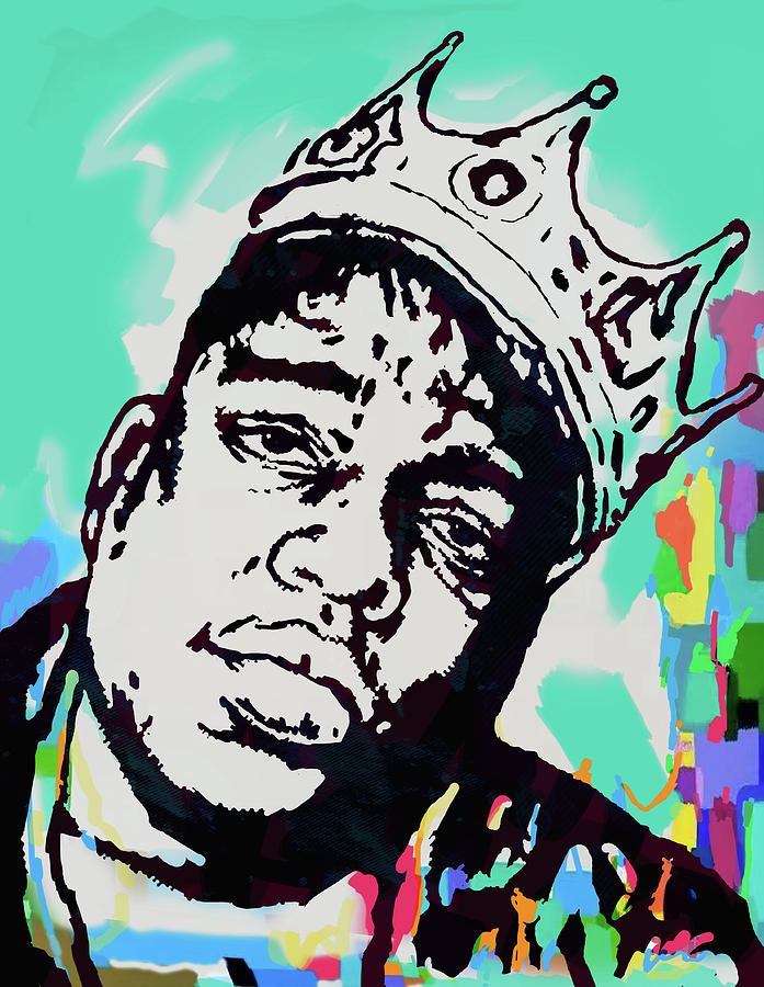 Portraits Mixed Media - Biggie Smalls - pop art poster  1 by Kim Wang