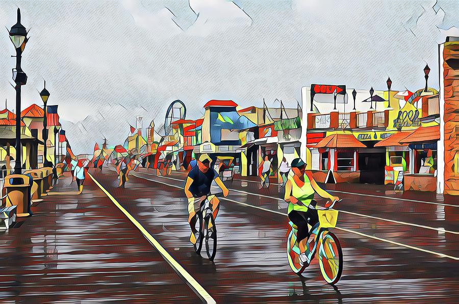 Biking On The Boards After The Rain Digital Art