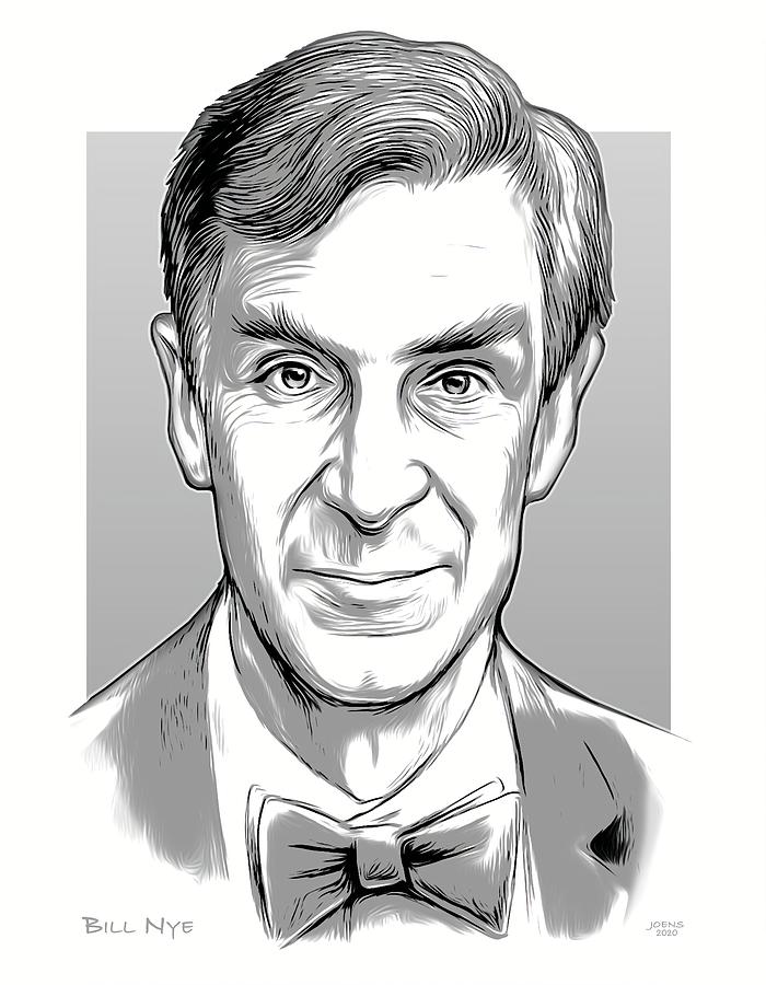 Bill Nye Digital Art - Bill Nye - line art by Greg Joens
