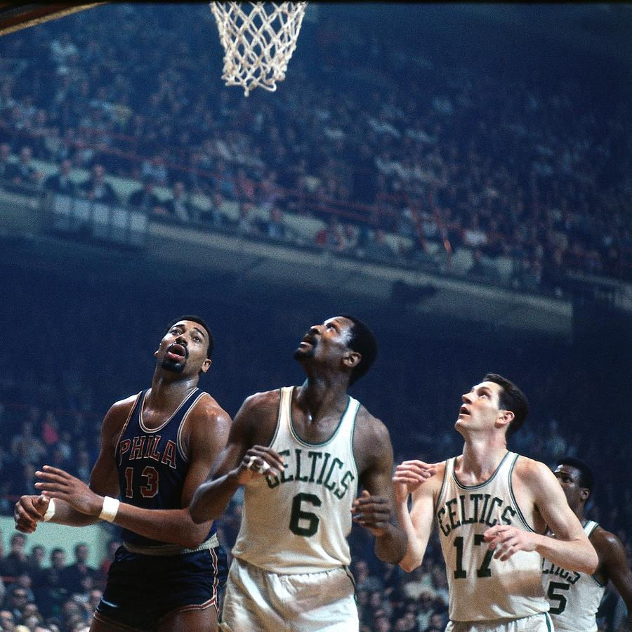 Bill Russell, John Havlicek, and Wilt Chamberlain Photograph by Dick Raphael