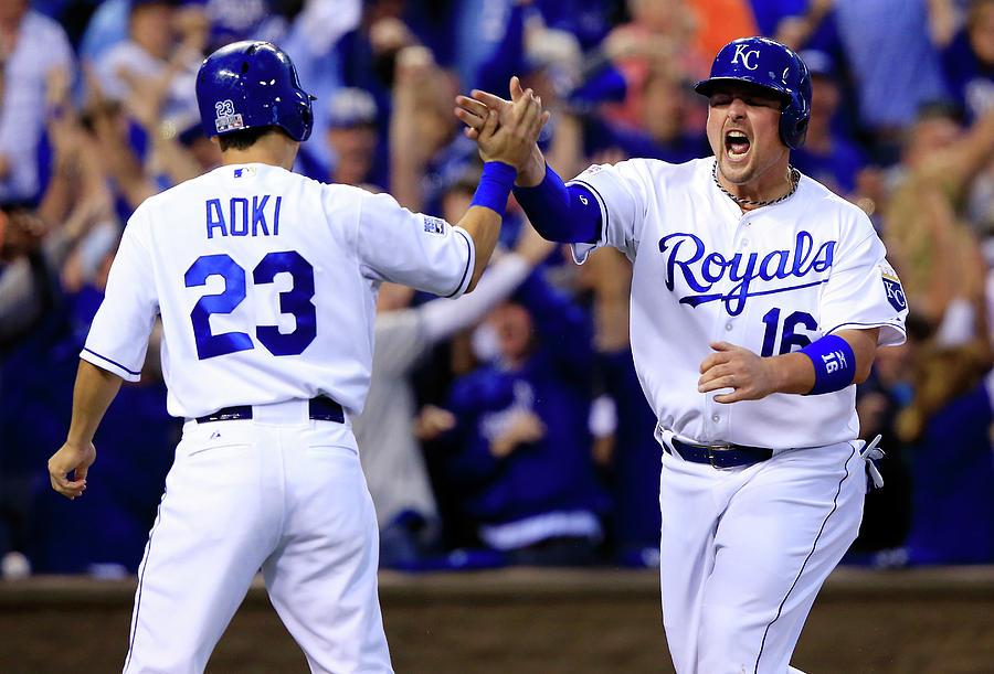 Billy Butler and Alcides Escobar Photograph by Jamie Squire