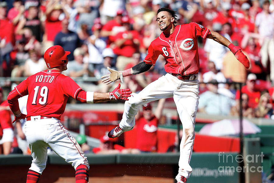 Billy Hamilton and Joey Votto Photograph by Kirk Irwin