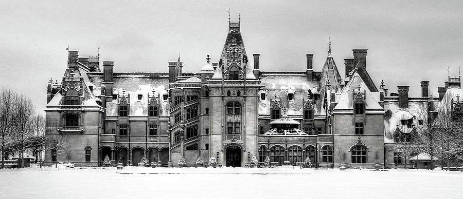 Biltmore Covered in Snow In Black and White by Carol Montoya