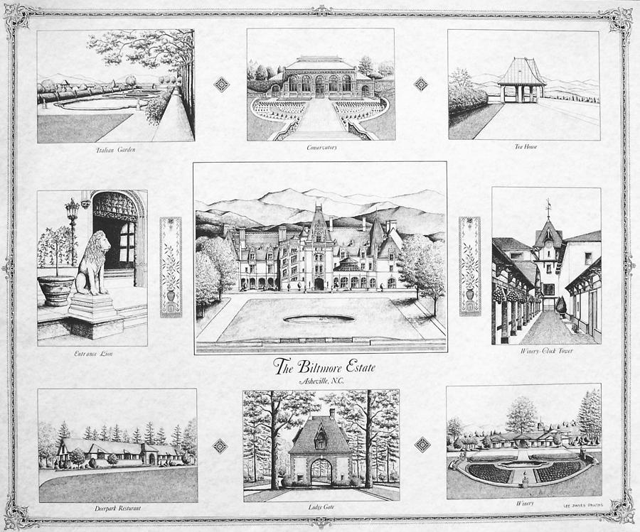 Biltmore Estate Drawing - Biltmore Estate Collage by Lee Pantas