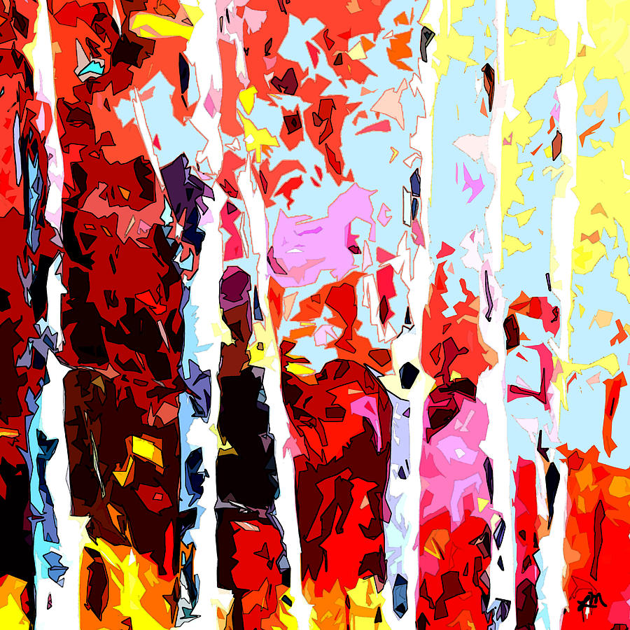 Abstract Digital Art - Birch Energy Expression by Linda Mears
