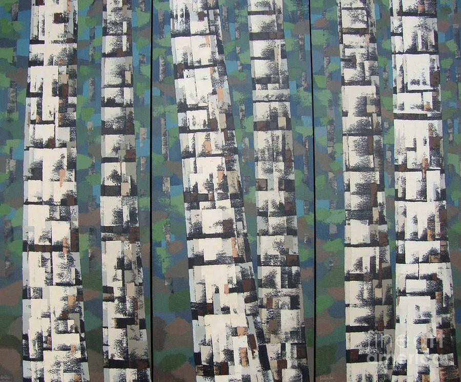 Birch Tree Forest Painting - Birch Tree Stems. Triptych. Abstract by Ludmila Kalinina