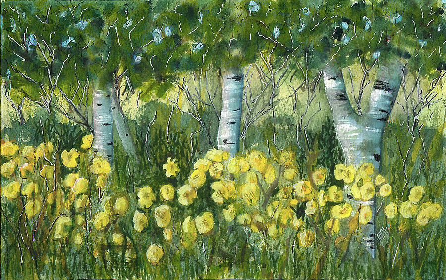 Birch Trees Painting - Birches and Daylillies by Maura Satchell