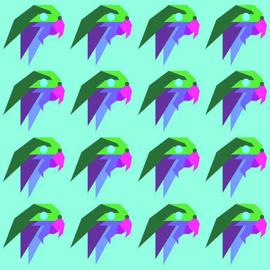 Bird Pattern Wpap Style Blue Background Digital Art