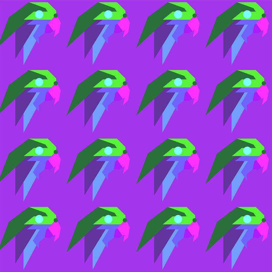 Bird Pattern Wpap Style Purple Background Digital Art