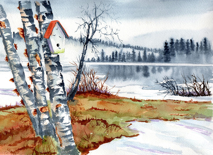 Birdhouse By The Lake Painting
