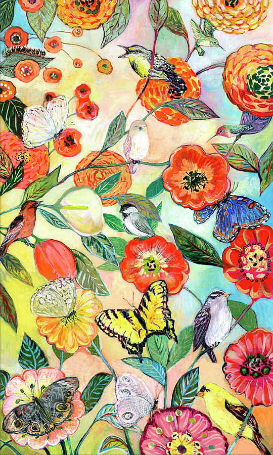 Birds And Butterflies Digital Collage Painting