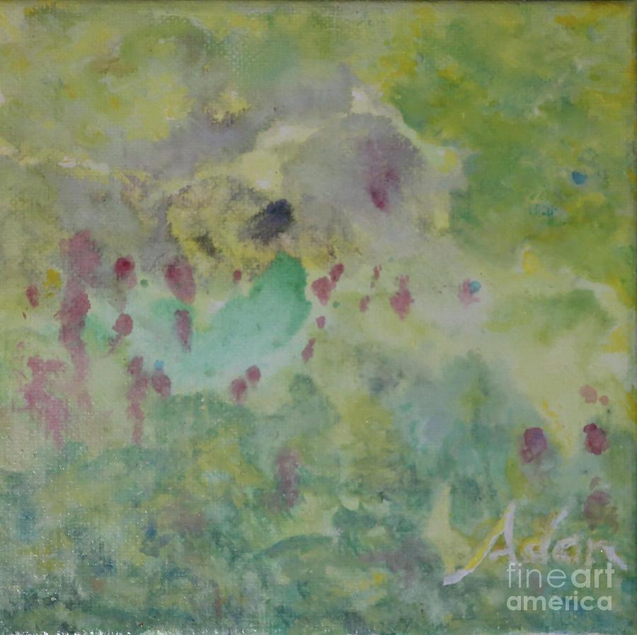 Green Painting - Birds Eye View 6x6 Acrylic Watercolor #1 by Felipe Adan Lerma