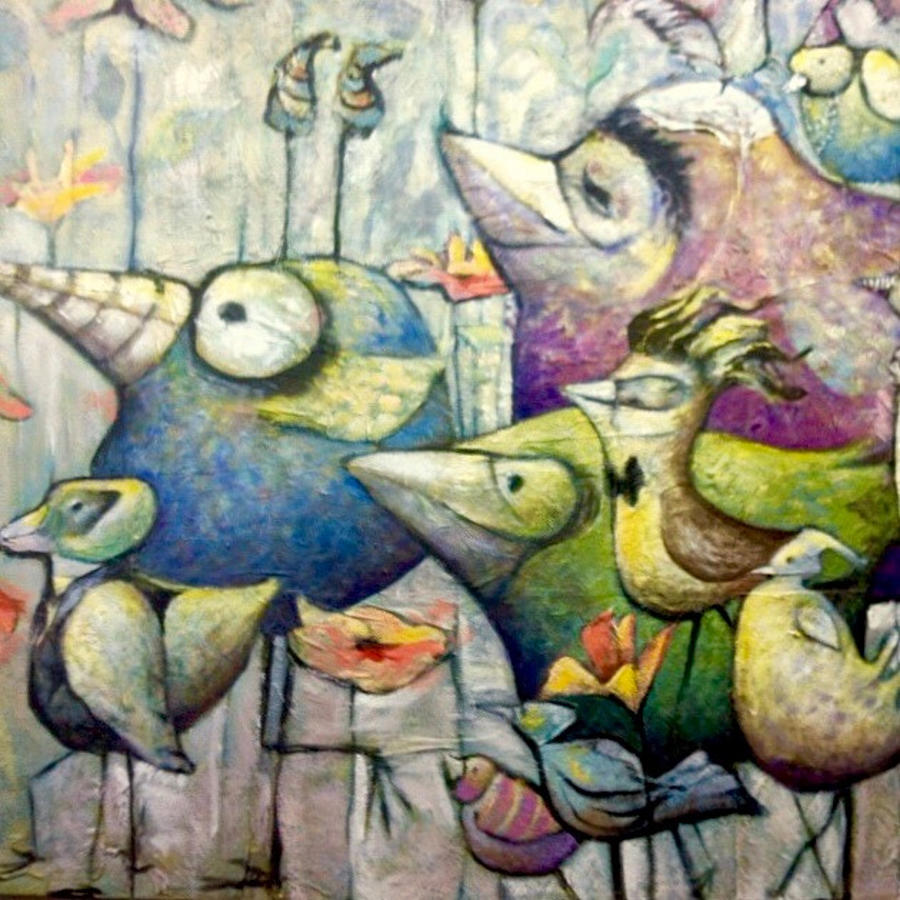 Whimsical Birds Painting - Birds Of A Feather by Eleatta Diver