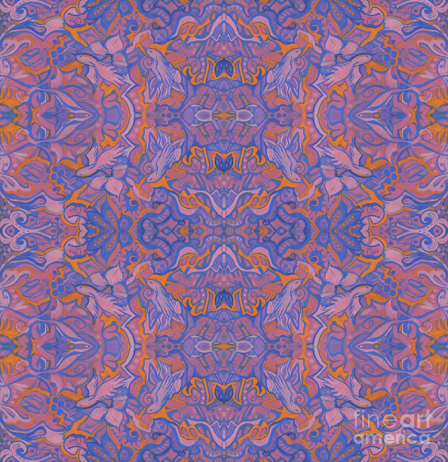 Abstract Floral Mixed Media - Birds of Sunrize Oriental Arabesque Pattern Blue Pink Orange by Julia Khoroshikh