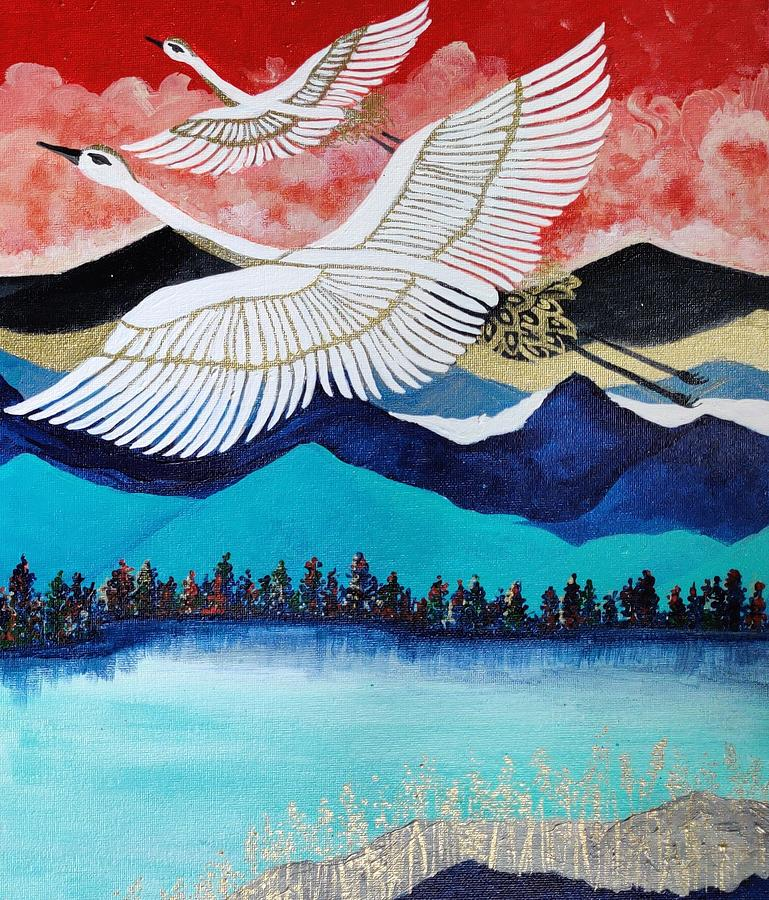 Birds Painting - Birds - Soaring high by Mallika Seth