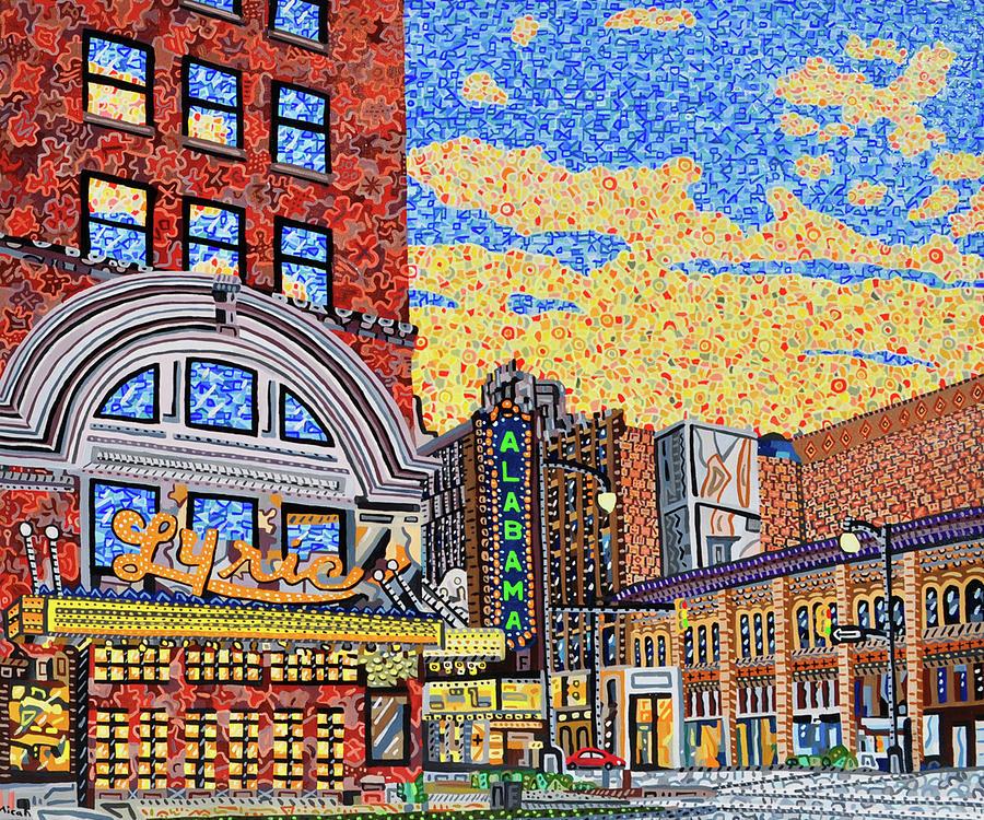 Birmingham Painting - Birmingham, Alabama Theater District by Micah Mullen